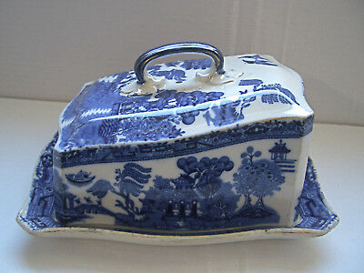 CORONAWARE S. Hancock & Sons Blue & White Willow Pattern Covered Cheese Dish