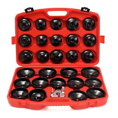 30Pcs Cup Type Oil Filter Wrench Cap Removal Core Socket Garage Steel Tool Kit