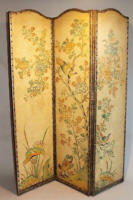 Antique Leather Three Panel Screen