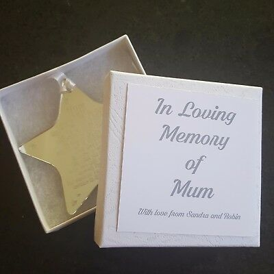 Personalised Engraved Star In A Box Gift In Loving Memory Poem Christmas - Lc48