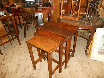 Arts and Crafts Oak Nest Of Tables C 1920s Rustic rare