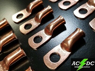 """(10) 6 gauge Ring 5/16"""" Hole Terminal BATTERY Lug Bare Copper Un-insulated AWG"""