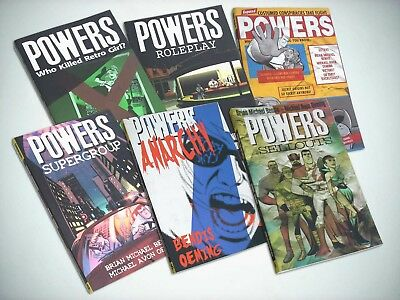 POWERS vols.1-6 Brian Michael Bendis Avon Oeming Image Graphic Novels VG job lot