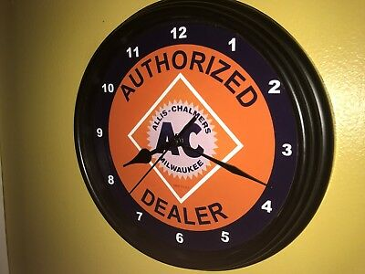 AC Allis Chalmers Farm Tractor Barn Store AuthDealer Man Cave Wall Clock Sign
