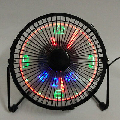 CO_ Mini USB Table Desk Cooling Fan LED Clock w/ Real Time Display Temperature B