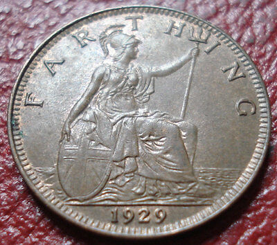 1929 British Farthing With Lamination On Obverse In Au Condition