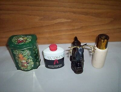 Vintage Avon After Shower Powder + Deer Decanter & Christmas Tin Spray 4Pcs Lot