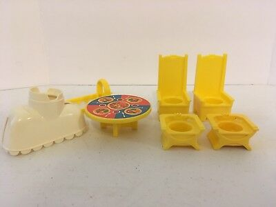 Vintage NOS Fisher Price Little People #993 Chairs Table etc