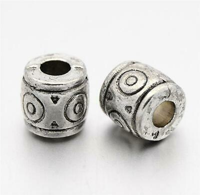 TOP QUALITY 20 TIBETAN SILVER BARREL SPACER BEADS 6mm x 7mm HOLE 3mm (TS38)