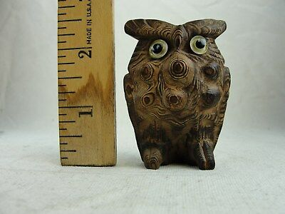 "Antique Netsuke Hand Carved & Signed 2 1/2"" Owl"