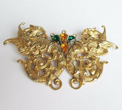 amazing large VINTAGE PAIR GRIFFINS BUTTERFLY SHAPED ORNATE PIN BROOCH gold tone