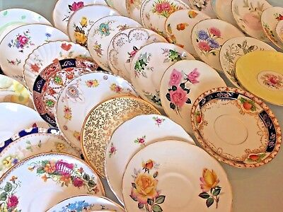 10 Vintage Saucers * ALL ENGLISH BONE CHINA * Mismatched Pretty Floral Tea Party