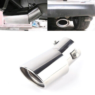 Universal Chrome Car Rear Round Exhaust Pipe Tail Muffler Tip Stainless Steel