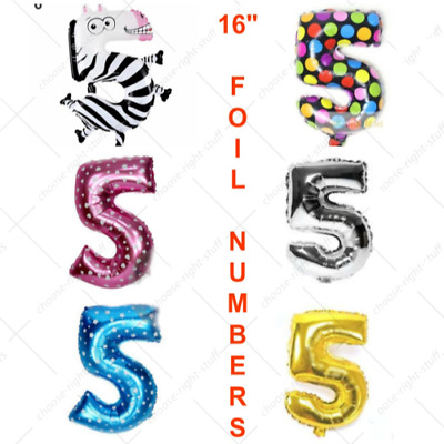 5th 15th 50th Age Birthday Party Number Foil Balloon Air Pink Blue Gold Silver
