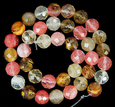"10mm Faceted Watermelon Tourmaline Round Gemstone loose Beads 15"" AAA"