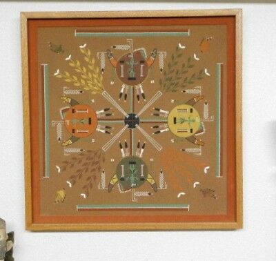 "vtg. framed Navajo Sand Painting with incredible details - LARGE 27"" x 27"""