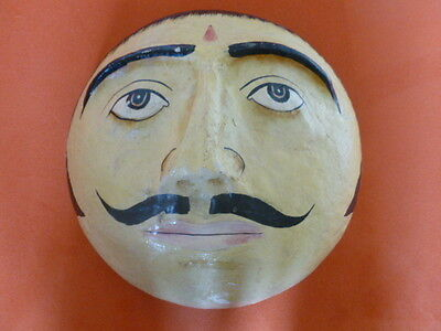 """Very large deep vintage Indian India mask head - 10"""" across, very good condition"""