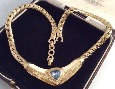 Vintage Signed Christian Dior Stunning Statement Crystal Panel Necklace