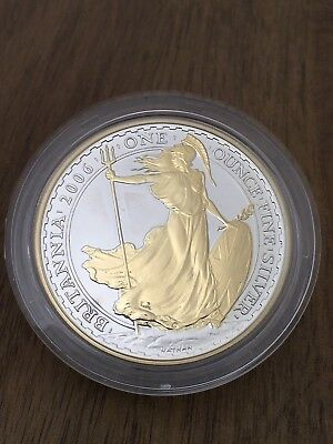 2006 Royal Mint Britannia Silver Proof Golden Silhouette £2 1oz Coin + Free Gift