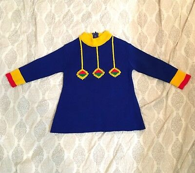 Vintage 60s Alyssa Kids Blue Yellow Red Green Holiday Toy Soldier Sweater