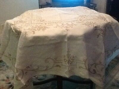 """46""""sq Magnificent Embroidered Tablecloth Cream With Coffee All Over Embroidery"""