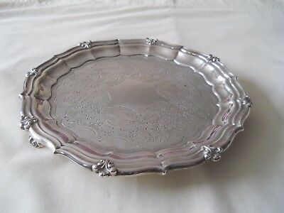 "Antique George Iv Sterling Silver 8.75"" Tray/salver 1827"