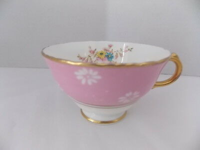 HM Sutherland China Teacup Made in England Numbered Pink Gold Trim