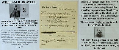 CIVIL WAR OFFICER 3rd VERMONT LIGHT ARTILLERY FORT FISHER HERO DOCUMENT SIGNED !