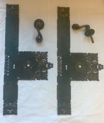 Rare Arts & Crafts Large DOOR Ornate Copper PUSH Finger Plates & * Handles