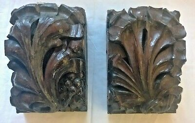 2 Original Arts & Crafts Victorian Church CARVED OAK CORBELS * More Available *