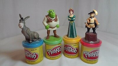 SHREK Play Doh Stamp Set / 4 Fiona Donkey Puss in Boots 2 oz Containers RARE NEW