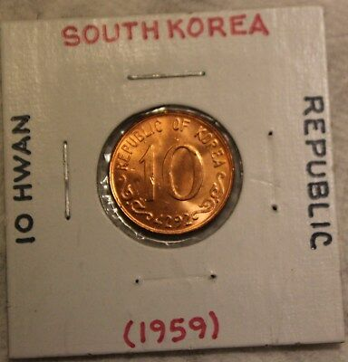 1959 Republic Of South Korea 10 Ten Hwan Coin Uncirculated ?