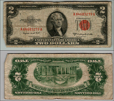 1953B $2 Dollar Bill Old Us Note Legal Tender Paper Money Currency Red Seal P78