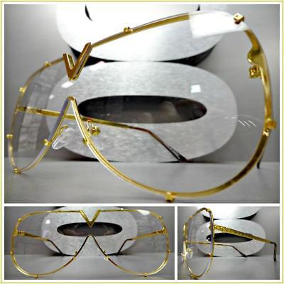 OVERSIZE RETRO Flat SHIELD Style Clear Lens SUN GLASSES Gold Metal Fashion Frame