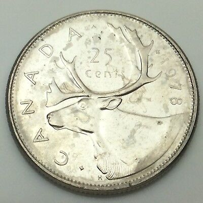 1978 Small Beads Canadian 25 Cents Quarter Canada Uncirculated Not In Case C715