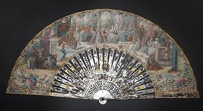Amazing Antique French Mother Of Pearl Gold Inlay Painted Biblical Scene Fan