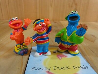 "Sesame Street Figurines Set of 3 COOKIE MONSTER ZOEY ERNIE 3"" Cake Toppers"