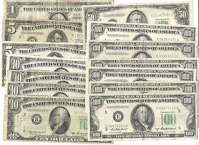 LOT of OLD US bills, $1 $5 $10 $50 $100 silver certificates incld. series b & d
