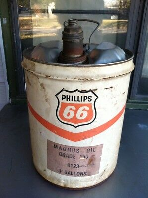 Phillips 66 Motor Oil Vintage 5 Gallon Metal Can Man Cave Sign Gas Station USA