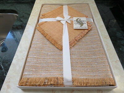 "Vintage Tablecloth & 6 Napkins - Brown's Linen - Tweed - 52"" By 70"" (New)"