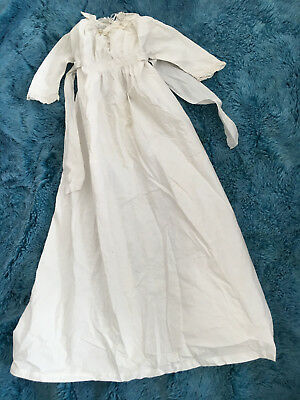 Antique Victorian baby Christening gown in cotton, cut embroidery/ lace