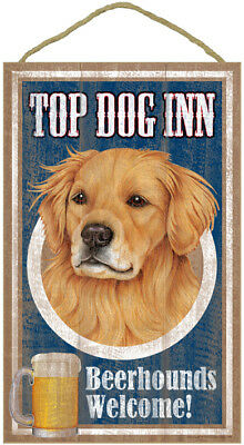 "Top Dog Inn Beerhounds Golden Retriever Bar Sign Plaque dog pet 10"" x 16""  Beer"