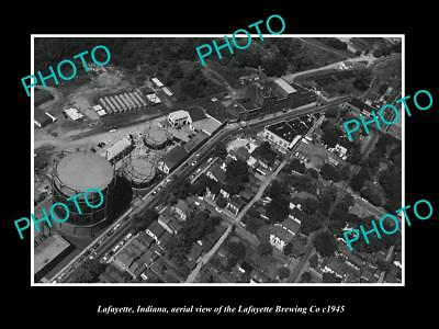 OLD LARGE HISTORIC PHOTO OF LAFAYETTE INDIANA, AERIAL VIEW OF THE BREWERY c1945