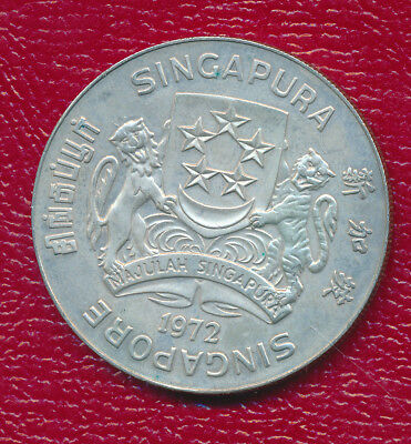 Singapore 1972 $10 Silver Coin With Red Case **eagle - 90% Silver**