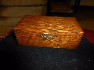 "Ca. 1915 Golden Oak Box-Small-Arts And Crafts Label ""dennison's Jewelry Cleaning"
