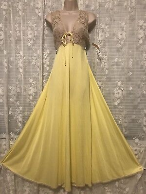 VTG Jenelle Lemon Yellow Glamour Nightgown Negligee Gown L NWT
