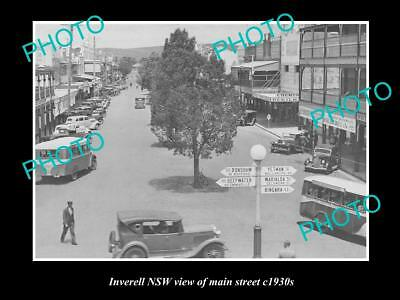 OLD LARGE HISTORIC PHOTO OF INVERELL NSW, VIEW OF MAIN STREET c1930s