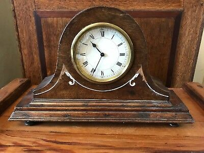 Rare Antique Vintage Wooden Cased Mantle Clock Mechanical Mechanism