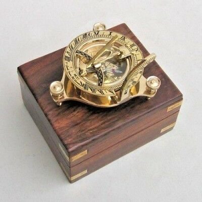 "Sundial Compass 3"" In Wooden Box ~ Nautical Compass ~ Maritime ~ Navigation"