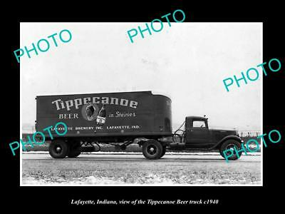 OLD LARGE HISTORIC PHOTO OF LAFAYETTE INDIANA, THE TIPPECANOE BEER TRUCK c1940